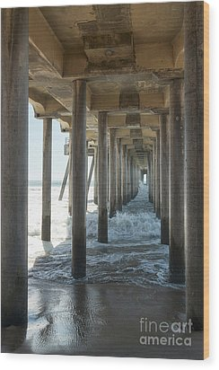 Wood Print featuring the photograph Huntington Beach Pier From Below by Ana V Ramirez