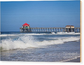 Huntington Beach Pier Photo Wood Print by Paul Velgos