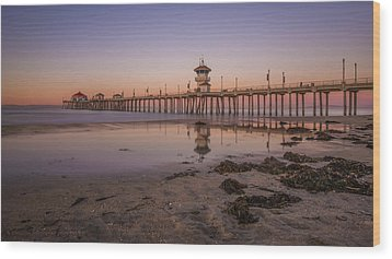 Wood Print featuring the photograph Huntington Beach Pier by Sean Foster
