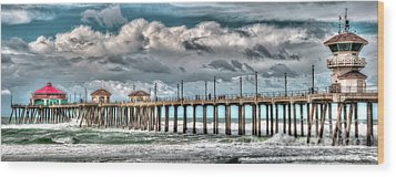 Wood Print featuring the photograph Huntington Beach Winter 2017 by Jim Carrell