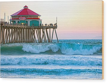 Wood Print featuring the photograph Huntington Pier by Anthony Baatz