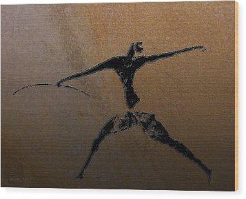 Huntsman Of Lascaux V2 Wood Print by Asok Mukhopadhyay