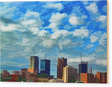 Huntsville Alabama Skyline Abstract Art Wood Print by Lesa Fine