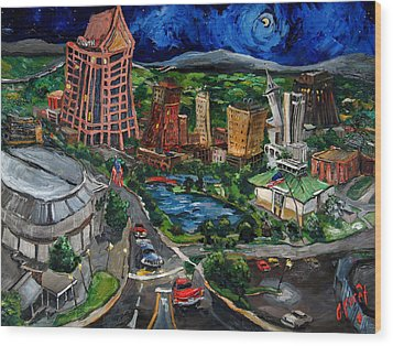 Huntsville Skyline Wood Print by Carole Foret