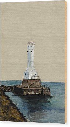 Huron Harbor Lighthouse Wood Print by Michael Vigliotti