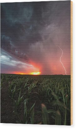 Wood Print featuring the photograph Huron Lightning  by Aaron J Groen