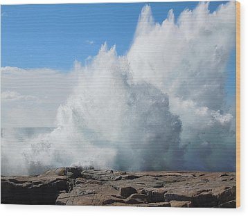 Wood Print featuring the photograph Hurricane Igor At Schoodic Point Maine by Francine Frank