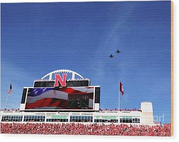 Husker Memorial Stadium Air Force Fly Over Wood Print