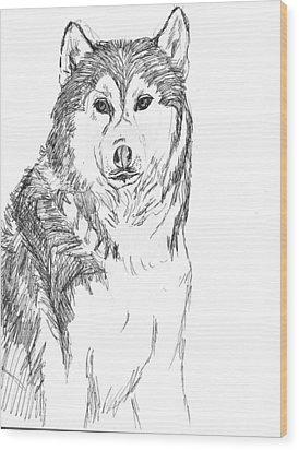 Husky Wood Print by Charme Curtin