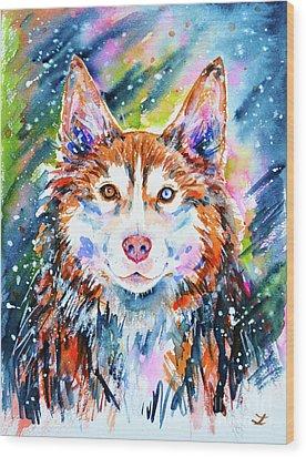 Wood Print featuring the painting Husky by Zaira Dzhaubaeva