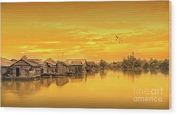 Wood Print featuring the photograph Huts Yellow by Charuhas Images