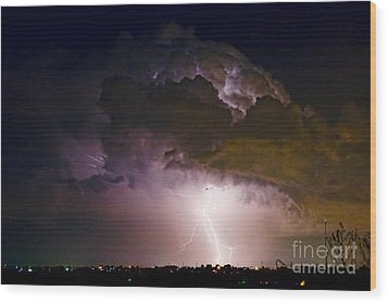 Hwy 52 - 08-15-2010 Lightning Storm Image 42 Wood Print by James BO  Insogna