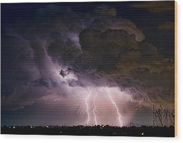 Hwy 52 - Hwy 287 Lightning Storm Image 29 Wood Print by James BO  Insogna