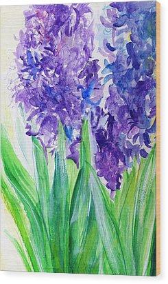 Hyacinths At Debbie's Wood Print by Rosanne Licciardi