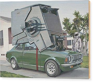 Hybrid Vehicle Wood Print