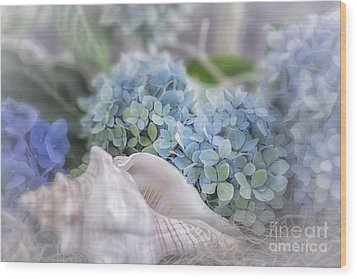 Hydrangeas By The Sea Wood Print