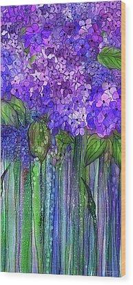 Wood Print featuring the mixed media Hydrangea Bloomies 2 - Purple by Carol Cavalaris