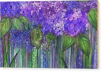 Wood Print featuring the mixed media Hydrangea Bloomies 3 - Purple by Carol Cavalaris