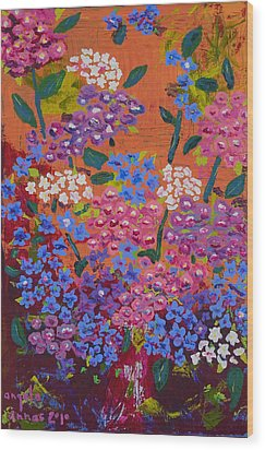 Hydrangea Collage Wood Print by Angela Annas