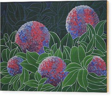 Wood Print featuring the painting Hydrangea Grandiflora by Paul Amaranto