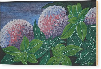 Wood Print featuring the painting Hydrangea by Paul Amaranto