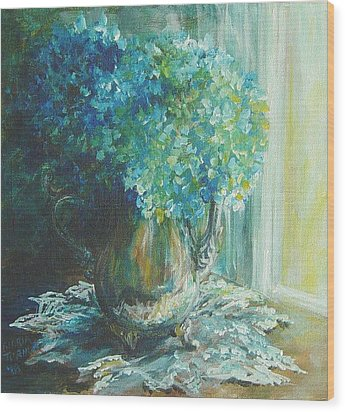 Wood Print featuring the painting Hydrangea Sold by Gloria Turner