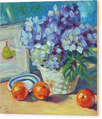 Hydrangeas And Oranges Wood Print by Debbie Miller
