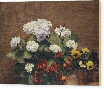Hydrangeas And Wallflowers And Two Pots Of Pansies Wood Print by Henri Jean Fantin-Latour