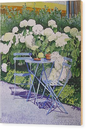 Wood Print featuring the painting Hydrangeas At Angele by Gail Chandler