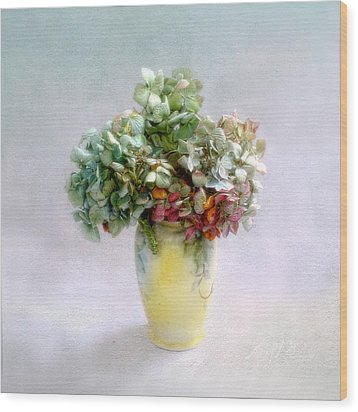 Wood Print featuring the photograph Hydrangeas In Autumn Still Life by Louise Kumpf
