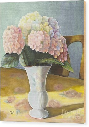Wood Print featuring the painting Hydrangeas by Marlene Book