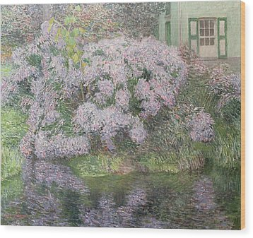 Hydrangeas On The Banks Of The River Lys Wood Print by Emile Claus