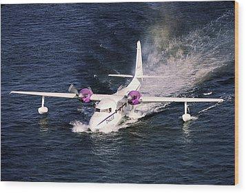 Hydroplane Splashdown Wood Print by Sally Weigand