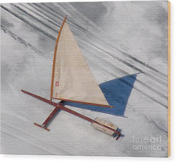 Wood Print featuring the photograph I-001 Iceboat - Wood Antique by Bill Lang