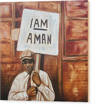 Wood Print featuring the painting I Am A Man by Emery Franklin