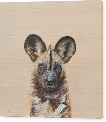 Wood Print featuring the drawing I Am A Wild Thing - African Painted Dog by Elena Kolotusha