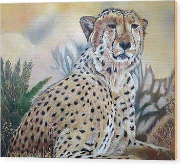 I Am Cheetah 2 Wood Print by Marilyn  McNish