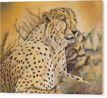 I Am Cheetah Wood Print by Marilyn  McNish
