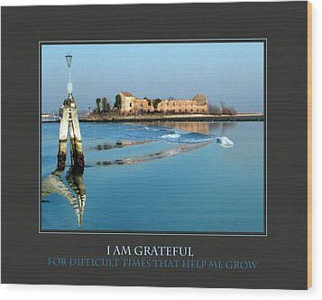 I Am Grateful For Difficult Times Wood Print by Donna Corless