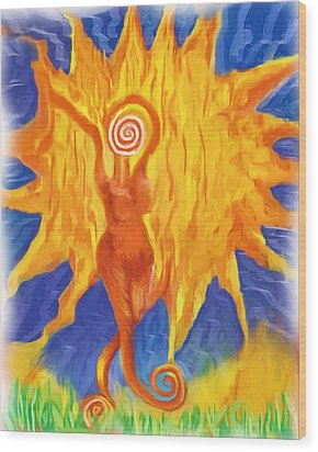 Wood Print featuring the painting I Am The Sun by Shelley Bain