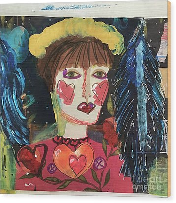 Wood Print featuring the painting I Carry Your Heart In My Heart by Kim Nelson