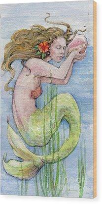 Wood Print featuring the painting Mermaid by Lora Serra