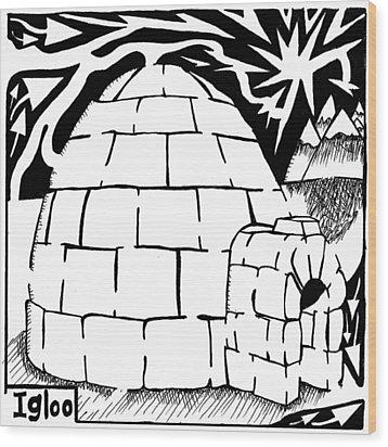I Is For Igloo Maze Wood Print by Yonatan Frimer Maze Artist