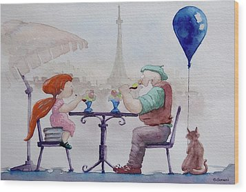I Love Paris Grandpa Wood Print by Geni Gorani