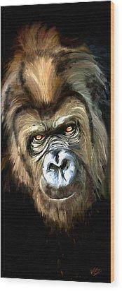 Gorilla Portrait Wood Print by James Shepherd