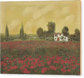 I Papaveri E La Calda Estate Wood Print by Guido Borelli