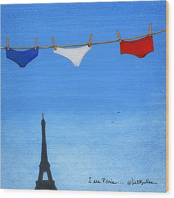Wood Print featuring the painting I See Paris... by Will Bullas