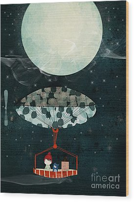 Wood Print featuring the painting I See The Moon Too by Bri B