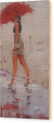 Wood Print featuring the painting I See You by Laura Lee Zanghetti
