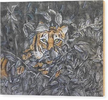 Wood Print featuring the painting I See You... Orange Tiger by Kelly Mills
